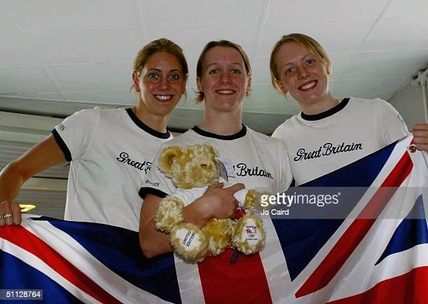 Swimmers Katy Sexton Melanie Marshall and Kirsty Balfour pose on the plane at the departure of the British Olympic Swimming Team for the 2004 Olympic...