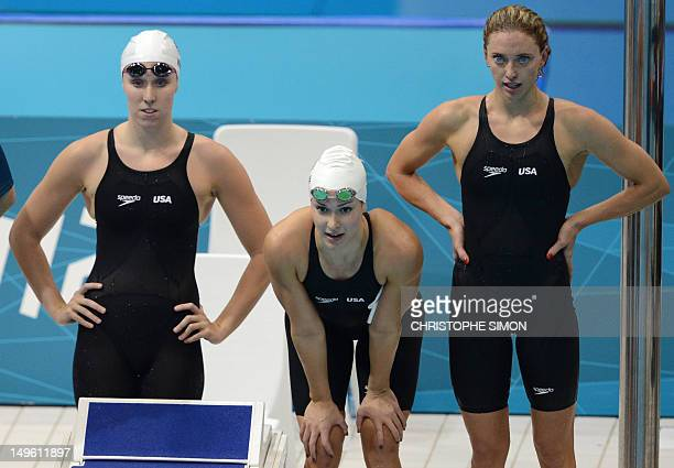 US swimmers Lauren Perdue Shannon Vreeland Alyssa Anderson follow the women's 4x200m freestyle relay heats swimming event at the London 2012 Olympic...