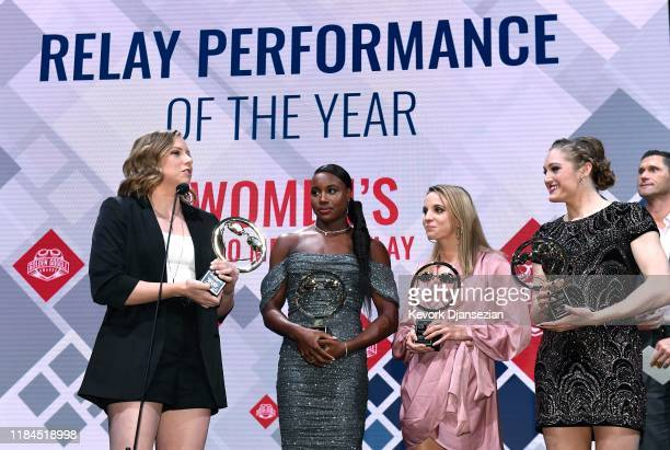 Swimmers Lilly King Simone Manuel Regan Smith and Kelsi Dahlia receive the Relay Performance of the Year award during the Golden Goggle Awards on...