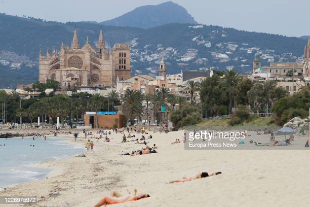 Swimmers on a beach in Palma during the first day of Phase 2 when it is possible to access beaches in the same province island or territorial unit of...