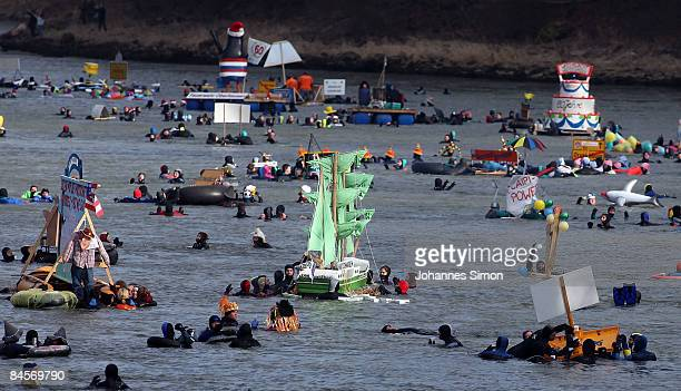 Swimmers participate in the traditional Neuburg ice swimming on January 31 2009 in Neuburg an der Donau Germany The Neuburg ice swimming is seen as...
