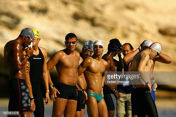 Swimmers prepare for the start of the Men's and Women's 5 km Open water Marathon Swimming event at Qantab Beach during day two of the 2nd Asian Beach...
