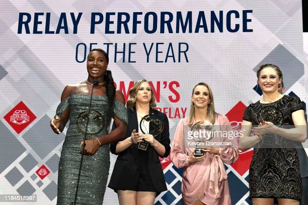Swimmers Simone Manuel Lilly King Regan Smith and Kelsi Dahlia receive the Relay Performance of the Year award during the Golden Goggle Awards on...