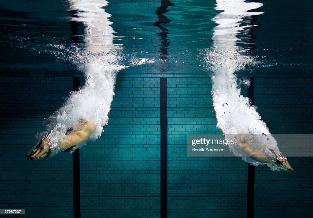 2 swimmers starting : Stock Photo