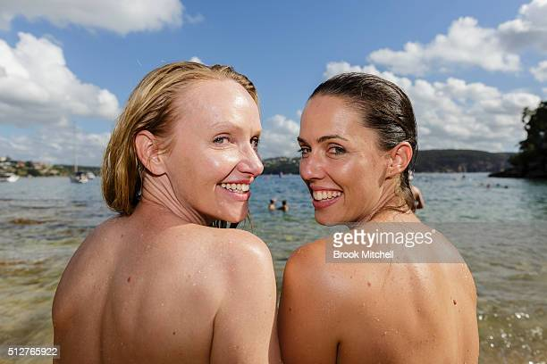 Swimmers take part in the annual Sydney Skinny at Cobbler's Beach on February 28 2016 in Sydney Australia The swim is aimed at promoting positive...