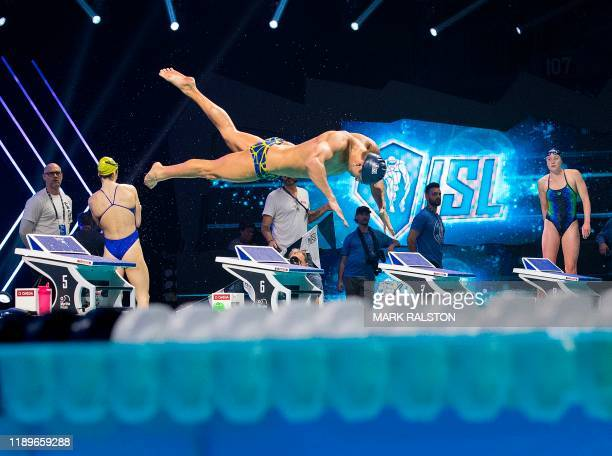 Swimmers train on the eve of the International Swimming League Championship Finale at the Mandalay Bay Hotel in Las Vegas, Nevada on December 19,...