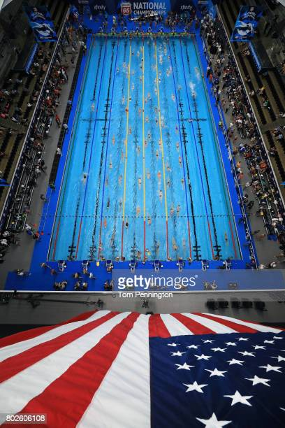 Swimmers warm up during the 2017 Phillips 66 National Championships World Championship Trials at Indiana University Natatorium on June 28 2017 in...