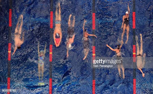 Swimmers warm up during the 2017 Phillips 66 National Championships World Championship Trials at Indiana University Natatorium on June 29 2017 in...