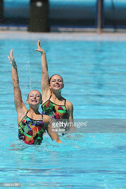 Swimmers with Arm-raised  Synchronized Swimming