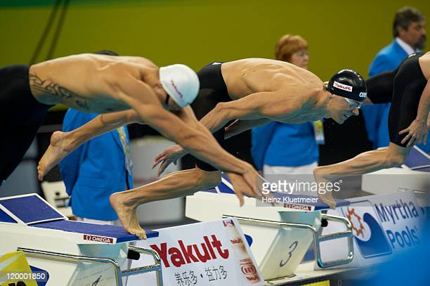 14th FINA World Championships: Brazil Cesar Cielo Filho in action, dive during Men's 50M Butterfly Semifinals at Oriental Sports Center. Shanghai,...