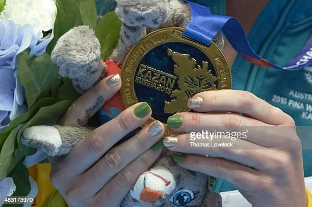 16th FINA World Championships Closeup of Hungary Boglarka Kapas bronza after Women's 1500M Freestyle final at Kazan Arena Kazan Russia 8/4/2015...