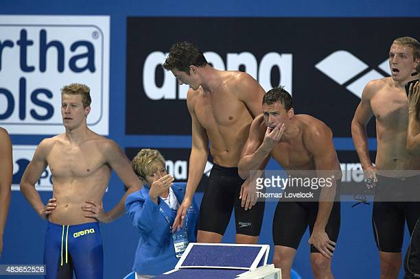 16th FINA World Championships USA Conor Dwyer Ryan Lochte and Reed Malone watching replay during Men's 4x200M Freestyle Relay Final at Kazan Arena...