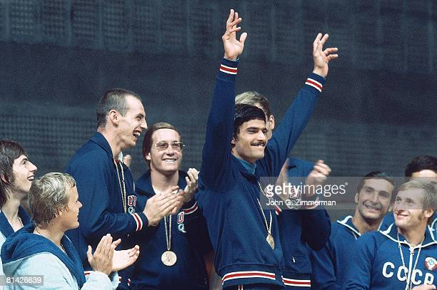 Swimming 1972 Summer Olympics USA Mark Spitz victorious with gold medal on stand Munich West Germany 8/26/19729/11/1972