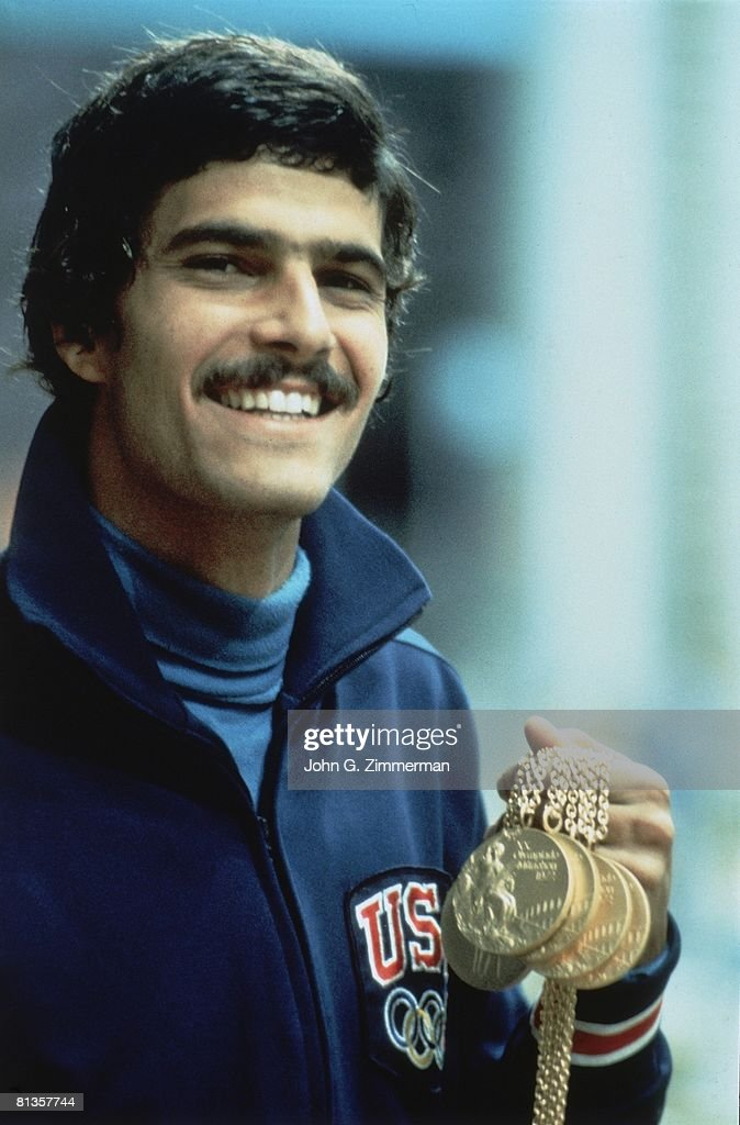 1972 Summer Olympics, USA Mark Spitz victorious with gold medal, Munich, West Germany 8/26/1972