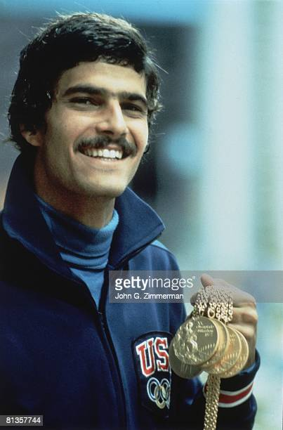 Swimming 1972 Summer Olympics USA Mark Spitz victorious with gold medal Munich West Germany 8/26/1972