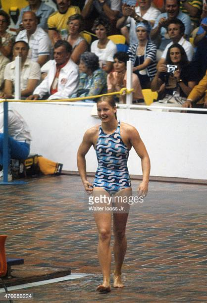 1976 Summer Olympics East Germany Kornelia Ender walking outside of pool after Women's race at Montreal Olympic Pool Montreal Canada 7/18/1976...