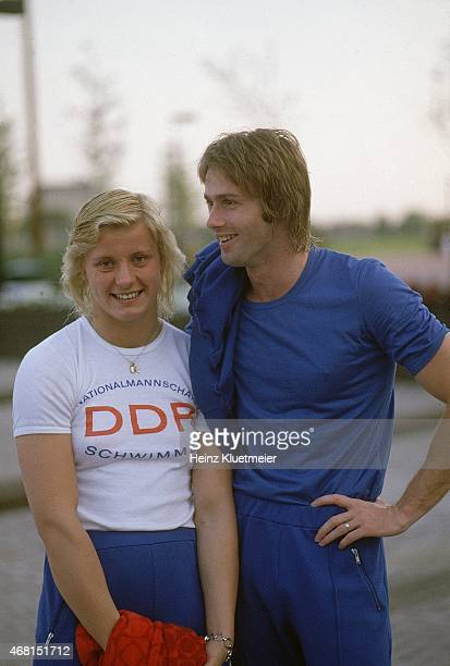 1976 Summer Olympics Portrait of East Germany Roland Matthes and Kornelia Ender during photo shoot Montreal Canada 7/18/1976 CREDIT Heinz Kluetmeier