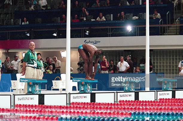 2000 Summer Olympics Equatorial Guinea Eric Moussambani in action during Men's 100M freestyle heats at Sydney International Aquatic Centre Sequence...