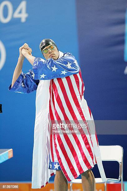 Swimming: 2004 Summer Olympics, USA Gary Hall Jr, victorious before 50M freestyle final at Aquatic Centre, Athens, GRC 8/20/2004