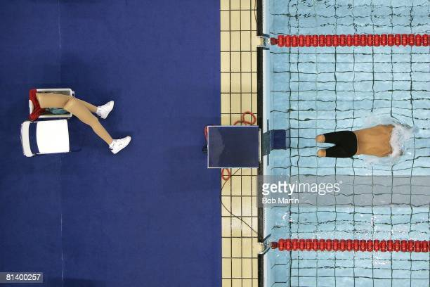 Swimming 2004 Summer Paralympics Aerial view of ESP Xavier Torres prosthetic legs during olympic 200M freestyle handicapped action Athens GRC...