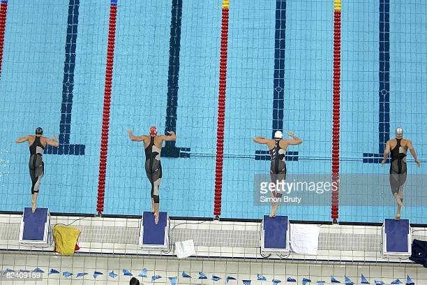 2008 Summer Olympics Aerial view of Spain Javier Noriega Croatia Duje Draganja USA Garrett WeberGale and Brazil Cesar Cielo Filho in action from...
