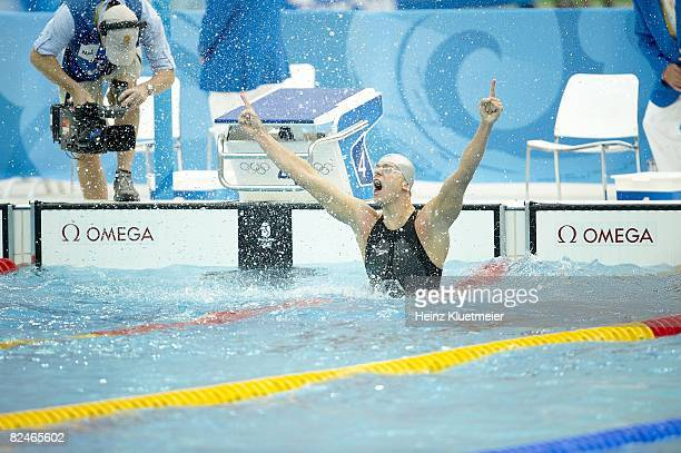 2008 Summer Olympics Brazil Cesar Cielo Filho victorious after winning gold medal with Olympic record of 2130 during Men's 50m Freestyle Final at...