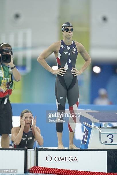 2008 Summer Olympics USA Dara Torres before anchor leg during Women's 4x100M Freestyle Relay Final Silver Medal win at National Aquatics Center...
