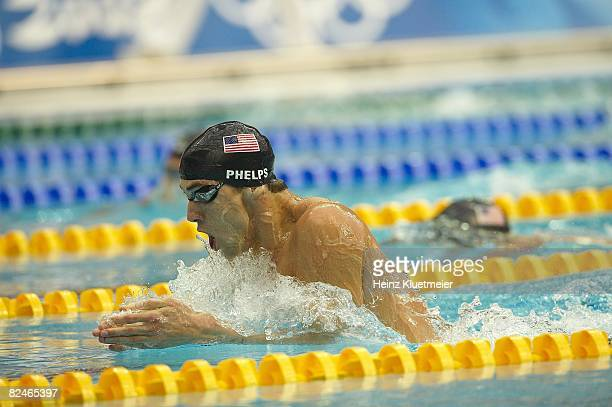 2008 Summer Olympics USA Michael Phelps in action during Men's 200M Individual Medley Final at National Aquatics Center Phelps won gold medal with...
