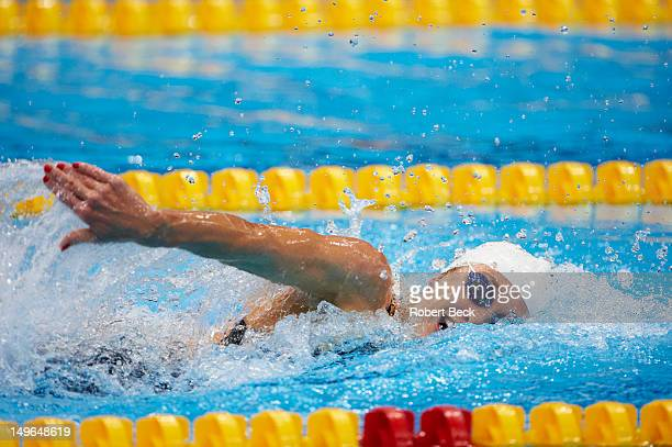 2012 Summer Olympics Closeup of USA Alyssa Anderson in action during Women's 4x200M Freestyle Relay Heats at Aquatics Centre London United Kingdom...