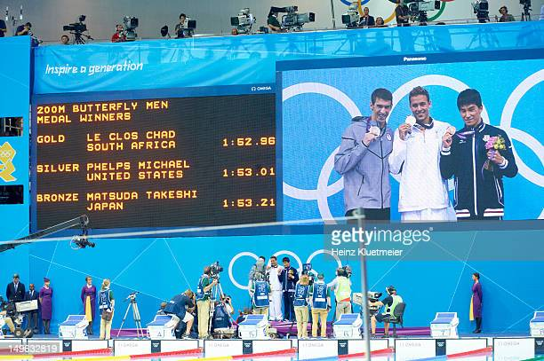 2012 Summer Olympics View on video screen of South Africa Chad le Clos victorious with gold USA Michael Phelps with silver and Japan Takeshi Matsuda...