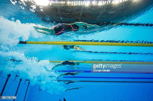 2016 Summer Olympics Underwater view of USA Allison Schmitt and competitors in action during the Women's 4X200m Freestyle Relay Final at the Olympic...