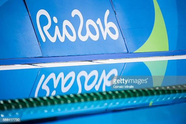 2016 Summer Olympics View of RIO 2016 logo on wall poolside at Olympic Aquatics Centre Rio de Janeiro Brazil 8/8/2016 CREDIT Donald Miralle