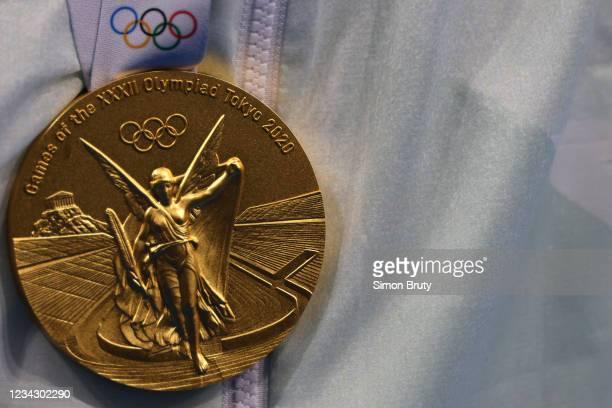 Summer Olympics: Closeup of gold medal at Tokyo Aquatics Centre. Tokyo, Japan 7/27/2021 CREDIT: Simon Bruty