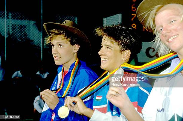 6th World Aquatics Championships Hungary Krisztina Egerszegi victorious with gold medal Germany Dagmar Hase and USA Janie Wagstaff with bronze medal...