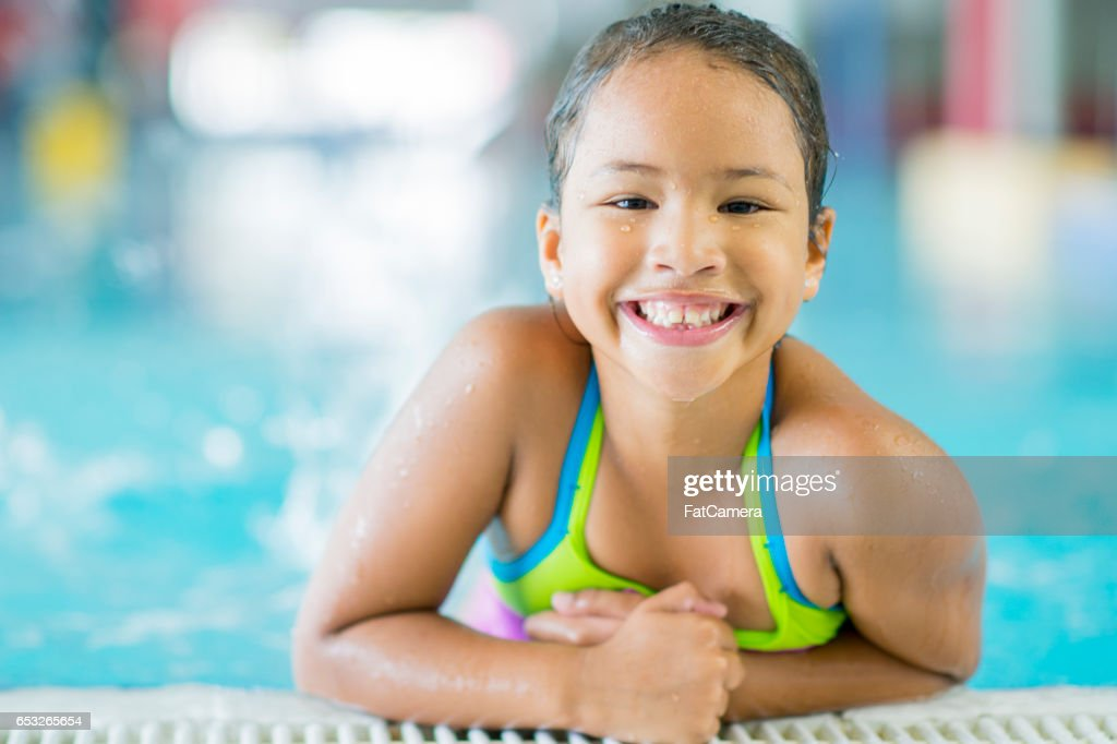 Swimming at the Public Pool : Stock Photo