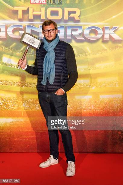 Swimming athlete Amaury Leveaux is seen during Thor Ragnarok Paris Premiere at Le Grand Rex on October 22 2017 in Paris France