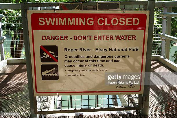 Swimming Closed sign at one of the entry points of the Roper River in the Northern Territorys Elsey National Park If a saltwater crocodile enters an...
