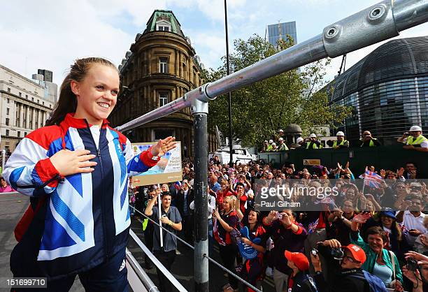 Swimming double gold and bronze medalist Ellie Simmonds waves to the crowd during the London 2012 Victory Parade for Team GB and Paralympic GB...