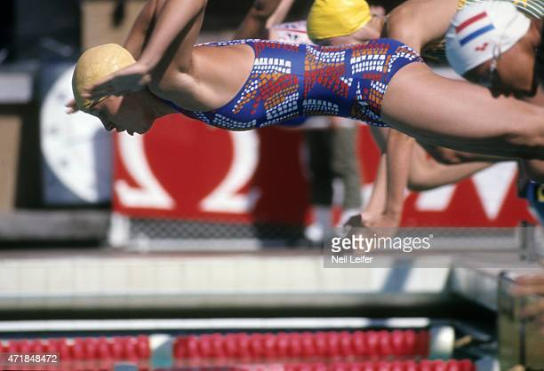 FINA World Championships East Germany Kornelia Ender in action dive at start of race at Unidad Deportiva Panamericana Cali Colombia 7/19/1975...
