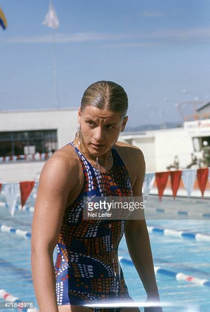 FINA World Championships View of East Germany Kornelia Ender after race at Unidad Deportiva Panamericana Cali Colombia 7/19/1975 7/27/1975 CREDIT...