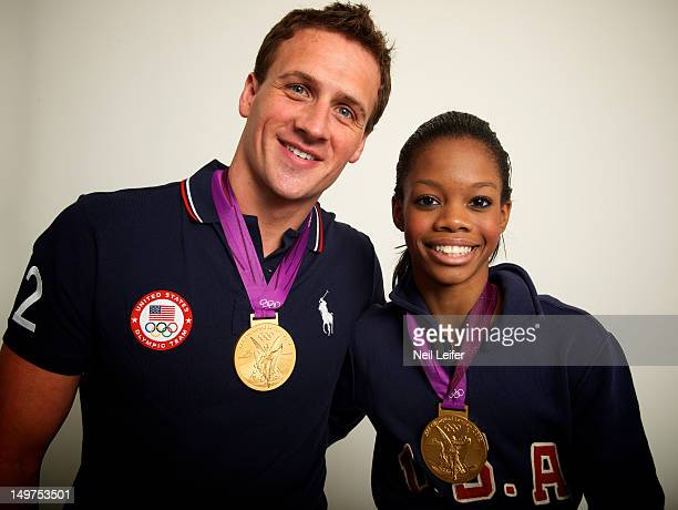 Swimming & Gymnastics: 2012 Summer Olympics: Closeup portrait of USA Ryan Lochte and Gabrielle Douglas posing during photo shoot at NBC Today Show...