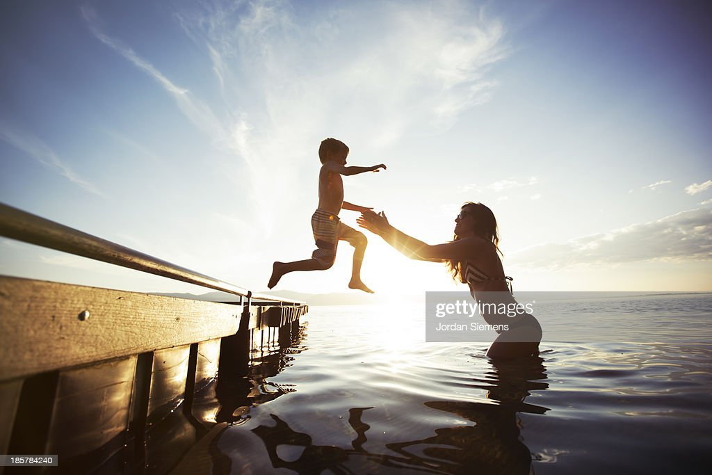 Swimming in a lake. : Stock Photo