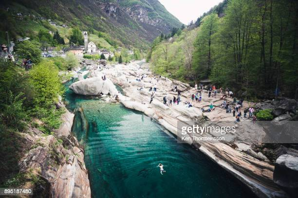 swimming in lavertezzo, switzerland - locarno stock photos and pictures