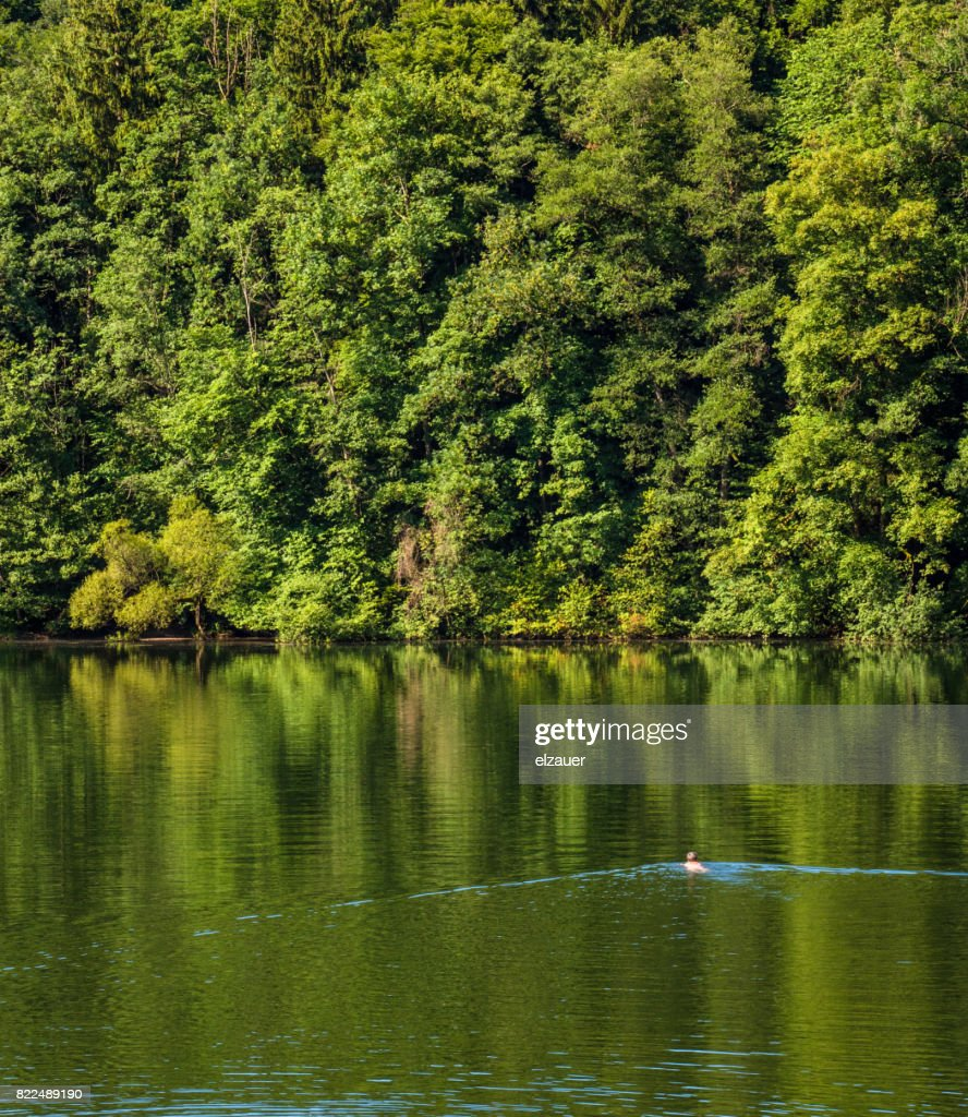 Swimming in the Hoeglwoerther See : Stock Photo