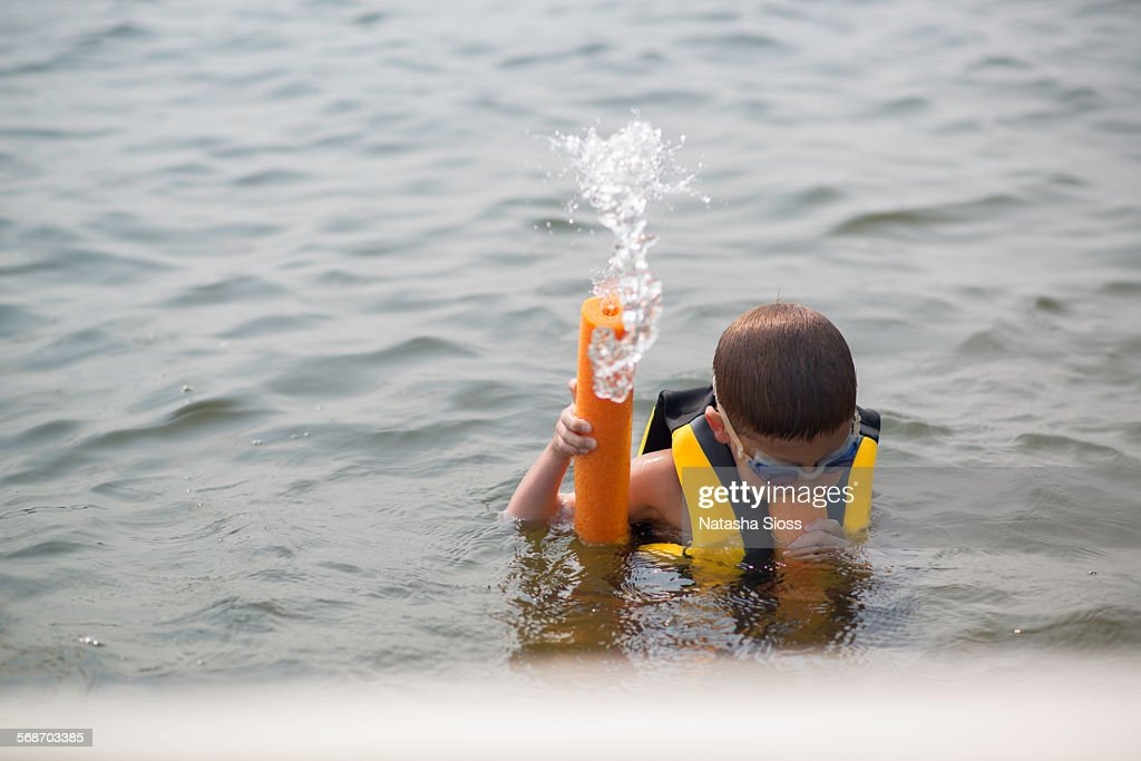 Swimming in the lake : Stock Photo