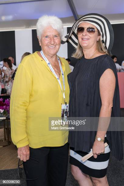 Swimming legend Dawn Fraser and daughter Dawn LorraineFraser attend Magic Millions Polo on January 7 2018 in Gold Coast Australia