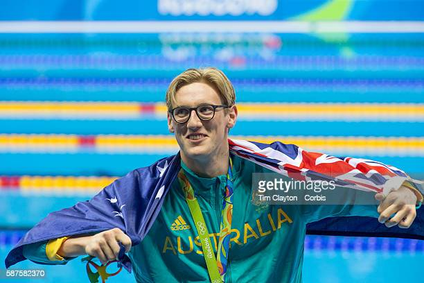 Day 1 Mack Horton Australia after the medal presentation for winning gold in the Men's 400m Freestyle Final during the swimming competition at the...