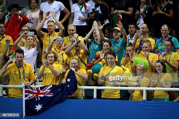 Day 1 The Australian swim team congratulate Mack Horton, Australia, after the medal presentation for winning the Men's 400m Freestyle Final during...