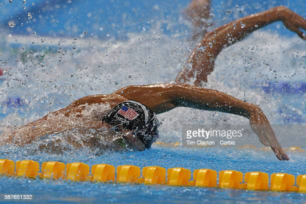 Day 2 Michael Phelps of United States swimming during the USA teams gold medal swim in the Men's 4 x 100m Freestyle Relay during the swimming...