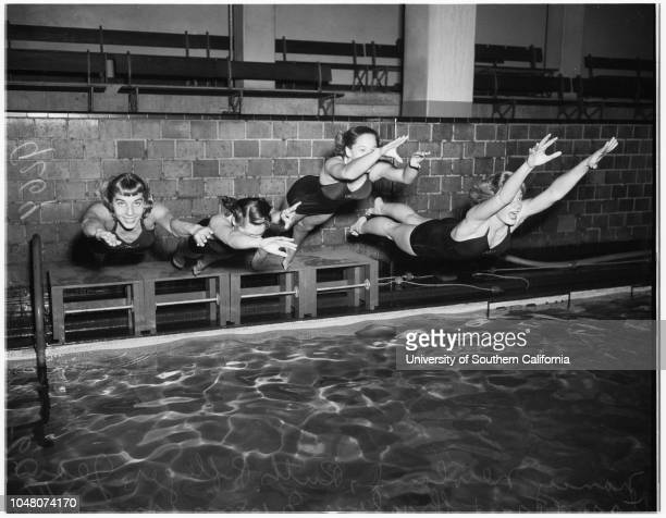 Swimming Pasadena Athletic Club 06 February 1951 Nancy NewlandRuth PflegerJean StanyerSharley ZimmermanJanice BartonCaption slip reads Photographer...